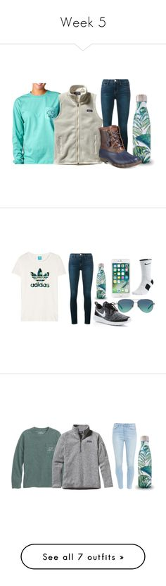 """""""Week 5"""" by secrowenj on Polyvore featuring Ivory Ella, Frame, Patagonia, Sperry, NIKE, Tiffany & Co., Paige Denim, Levi's, UGG and S'well"""