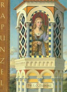 1998 - Rapunzel by Paul O. Zelinsky - A retelling of a folktale in which a beautiful girl with long golden hair is kept imprisoned in a lonely tower by a sorceress.