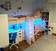 Loft beds using IKEA KRITTER kid's beds – IKEA Hackers I just wanted to share an idea that can help people with limited space and want to re-use KRITTER type of kid's beds for making loft beds. Ikea Kids Bed, Ikea Bed, Kids Bunk Beds, Ikea Loft Bed Hack, Ikea Stuva Bed, Girl Loft Beds, Ikea Children, Loft Bunk Beds, Bed For Girls Room