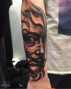 Tattoo by Cris. Yallzee's Amazing Tattoos Inspired by Salvador Dali I Tattoo, Cool Tattoos, Amazing Tattoos, Inked Magazine, Salvador Dali, Tattoo Inspiration, Surrealism, Tatting, Cool Photos