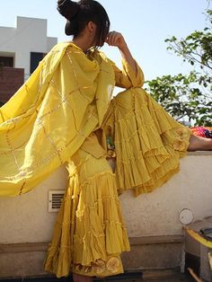 Yellow Sharara with Gota Border
