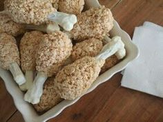 Rice Crispy Turkey Legs. I make these every year for the kids. Very easy!  A pretzel rod with 2 mini marshmallows on the end dipped in white chocolate for the 'bone' . Mix the cereal up for crispy treats and just mold around the other end in the shape pictured. Fun and easy!