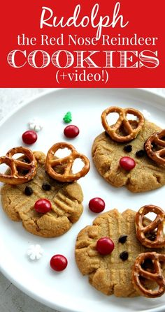 Easy Rudolph the Reindeer Cookies Recipe - easy, fun and adorable! Get kids involved this holiday season and make Rudolph the Reindeer cookies! Check out our video to see how!