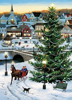 Leanin' Tree's scenic landscape Christmas cards feature the beauty of winter scenes and snow-capped mountains. Christmas Scenery, Christmas Villages, Noel Christmas, Victorian Christmas, Vintage Christmas Cards, Christmas Pictures, Winter Christmas, Outdoor Christmas, Thomas Kinkade Christmas