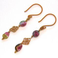 Watermelon Tourmaline Slice Dangle Earrings Bali Gold by FizzCandy, $50.00