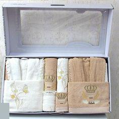 2 Accappatoi + 6 asciugamani 100% cotone pizzo *Belinda* beige - Completo per lui e per lei  Ottimo regalo!!