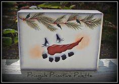 Snowman Wood Block Shelf Sitter Holiday Decoration Home Decor