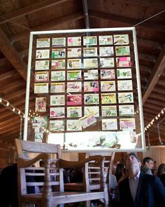 they took all the response cards and mounted between 2 pieces of acrylic and hung from the ceiling <3