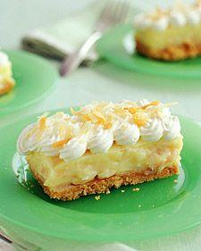 Coconut Cream Bars w/ easy shortbread cookie crust http://www.yumsugar.com/Smooth-Scrumptious-Coconut-Cream-Bars-1527369