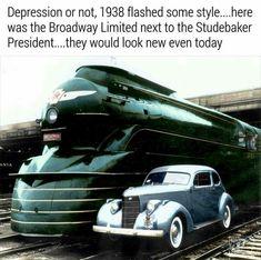 "(History) Rail engine ""Broadway Limited"" and automobile ""Studebaker President"" Designer Raymond Loewy, 1938 Train Car, Train Tracks, Old Trains, Vintage Trains, Train Posters, Colani, Pennsylvania Railroad, Steam Punk, Train Engines"