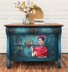 One of a kind Frida Kahlo antique dresser painted in a blend of reals and blues, decoupaged poster art, distressed and finished. Mexican Furniture, Funky Painted Furniture, Indian Furniture, Refurbished Furniture, Colorful Furniture, Repurposed Furniture, Colorful Decor, Cool Furniture, Decoupage Dresser