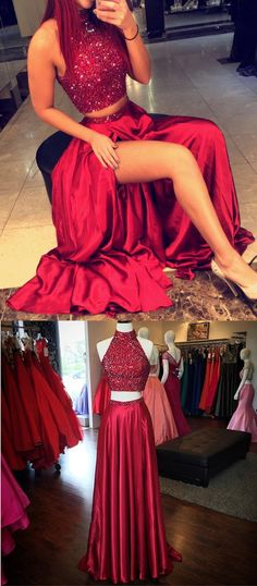 dark red/burgundy long two-pieces homecoming dress/evening dress/prom dress, sexy high-neck wine red evening dress/wedding reception dress www.dressesforher.com