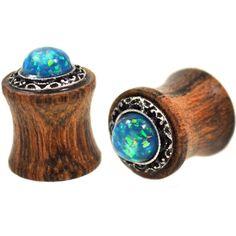 "BodyDazz.com - Opalescent Green Stone Wood Tribal Plugs (2g-5/8"")"