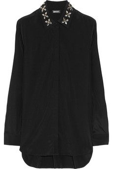 DKNY Embellished stretch-silk blouse | THE OUTNET