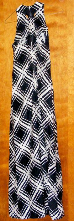 Vintage Halter Style Full Length Maxi Dress by Mr Robert Bold Geometric 70s Style. $32.00, via Etsy.