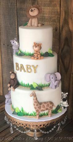 Chace's Cakes & Catering, LLC - Home Safari Animal Baby Shower Cake. Tortas Baby Shower Niña, Safari Baby Shower Cake, Torta Baby Shower, Baby Shower Cakes For Boys, Boy Baby Shower Themes, Baby Shower Fun, Animal Baby Showers, Baby Shower Jungle, Babyshower Cake Boy