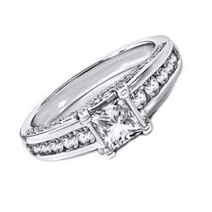 10K Solid White Gold 1/2 Ct Princess & Round Cut Engagement Ring #Affinityhomeshopping #Engagement