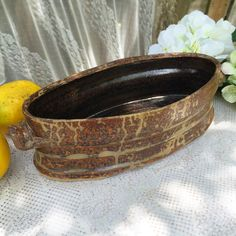 Vintage Hand made brown Vase pot signed Retro glaze flower pottery decor decorative planter holder bathroom vanity by WonderCabinetArts