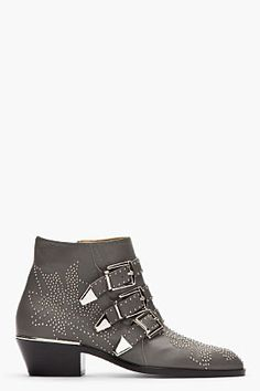 Chloe Grey Studded Susanna Boots for women | SSENSE