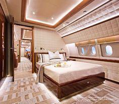 Magnificent Talent - Alberto Pinto - Haute Interior Design Bedroom on Private Plane! Jets Privés De Luxe, Luxury Jets, Luxury Private Jets, Private Plane, Private Jet Interior, Yacht Interior, Home Interior, Home Luxury, Luxury Living