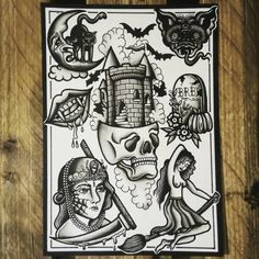 Ghoulish Traditional Tattoo Style Flash Sheet A4 by EllieGPrints