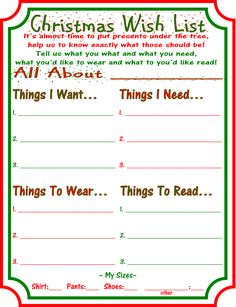 Want, Need, Wear, Read Christmas Wish Lists