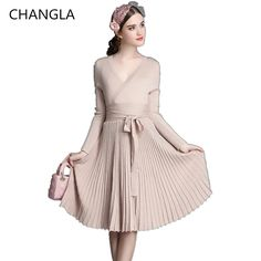 CHANGLA Spring  Autumn Women Fashion Sweaters Dresses A-line Deep V Neck Belted Pleated Vintage Dress Long Sleeve Knitting Dress