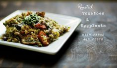 Roasted vegetables with farro pesto