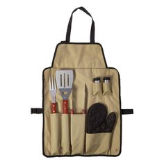 Chef's Kitchen 7-Piece Outdoor BBQ Apron and Utensil Set
