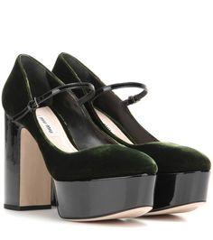 MIU MIU Velvet and patent leather platform pumps. #miumiu #shoes #pumps