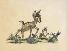 Coloured artwork of Bambi frolicking with baby rabbits.