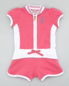 Your baby will be comfortable and stylish in this Juicy Couture Baby terry romper. Two-tone terry knit. Round neckline; striped collar. Zip-down front. Puffed short sleeves. Logo embroidery... More Details