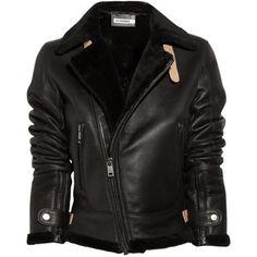 Jil Sander Shearling Leather Aviator Jacket