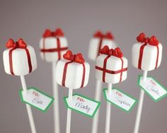 Christmas present cake pops. Copyright 2011 Angie Dudley.