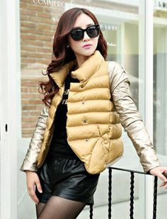 Find More Basic Jackets Information about Girl Korean style school form Cotton Down Jacket Yellow Silver 2015 Winter Warm Motorcycle jaquetas femininas bolero coat female,High Quality vest cardigan,China vest life Suppliers, Cheap vest purple from Zhongshan Top Fashion Store on Aliexpress.com