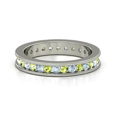 18K White Gold Ring with our birthstones Aquamarine and Peridot