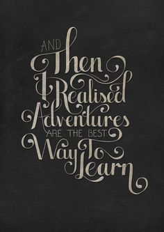 "nicolarobson:  ""And then I realised that adventures are the best way to learn.""  Trying my hand at a piece of hand drawn typography. (Created in Adobe illustrator and finished in Photoshop)"