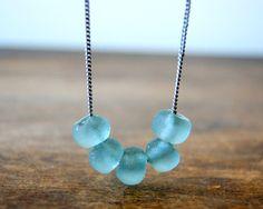 Aquamarine Recycled Glass Necklace glass bead by BlackStar