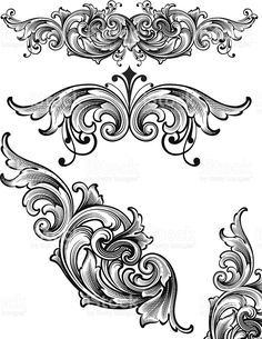 Designed by a hand engraver. Ornate and highly detailed arabesque scroll engraving set. Change color and scale easily with the enclosed EPS and AI files. No transparencies or special effects. Tatoo Art, Tattoo Drawings, Baroque Frame, Motif Arabesque, Tatoo Manga, Filigree Tattoo, Muster Tattoos, Engraving Art, Calligraphy Art