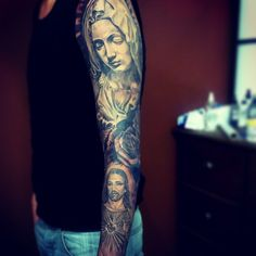 full sleev black and grey religious tattoo