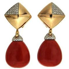 Pyramid Pave Clip earrings with removable coral drops