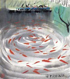Wu Guanzhong 吴冠中 (China 1919-2010)Viewing Fish at Flower Harbour (1977).jpg
