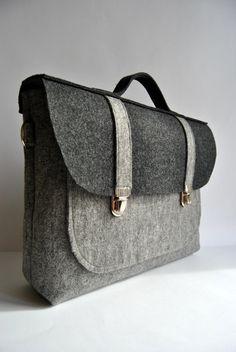 Felt laptop bag 17 MacBook urban bag Color gray and anthracite felt Common Laptop Bag satchel Briefcase on Etsy, $60.00