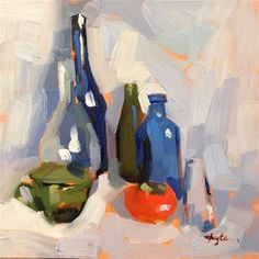 """Daily Paintworks - """"Persimmon with Bottles"""" - Original Fine Art for Sale - © Katia Kyte"""