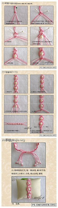 Silk string braiding and bead jewelry or embellishment.