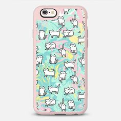 Cute doodle cats on marble background. - New Standard Case