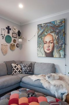 Half the house, twice the fun. Downsizing from a rambling bungalow in Rangiora to a pint-sized pad has been life-changing for this Christchurch family - and their pets! Townhouse, Small Spaces, Budgeting, Gallery Wall, The Incredibles, Couch, Life Changing, Bungalow, Interior