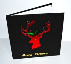 red  metallic stag and black christmas card  by CabbagePatchCards #stag #christmas