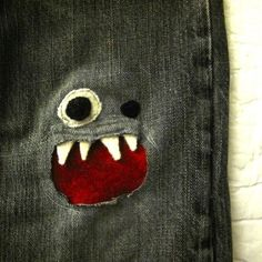 Monster Jean Patch...Figures that my kid with a hole in his jeans does NOT want a monster knee patch and the kid with perfect brand new jeans DOES want one...