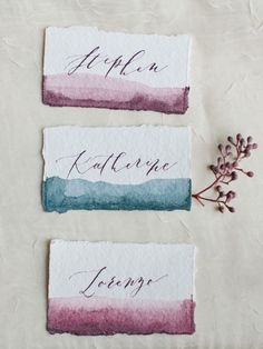 Jewel tone water color place cards: http://www.stylemepretty.com/little-black-book-blog/2015/11/25/autumn-orchard-wedding-inspiration/ | Photography: Callie Hobbs - http://calliehobbsphotography.com/ #weddinginspiration